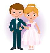 Couple newlyweds bride and groom — Stock Vector