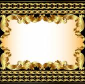 vintage background with gold pattern and border — Stock Vector