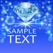 background with bright shiny diamond and place for text — Stock Vector