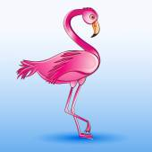 of a pink flamingo standing on a blue background — Stock Vector