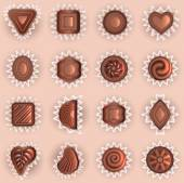 Chocolates of different shapes top view — Stock Vector