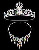 shiny tiara and necklace with gemstones — Vettoriale Stock