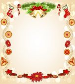 Christmas background with gingerbread flower and bells — Vecteur