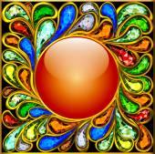 Background round frame made of precious stones — Vetorial Stock