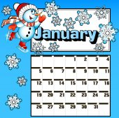 calendar for January snowman skates and snowflakes — Wektor stockowy