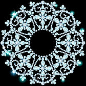 Shiny snowflake made of precious stones on black background — Stock Vector