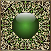 Background frame with glass ball ornaments and gold — Stock vektor