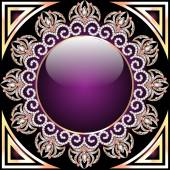 Background with glass circle and purple ornaments with precious — Stock Vector