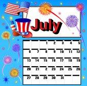 Calendar for July independence day fireworks flag hat — Stock Vector