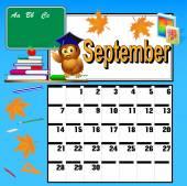 Calendar for September and school books owl and apple — Stock Vector