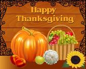 card fruit basket and pumpkin on Thanksgiving Day — Stock vektor