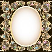 background frame with gold ornament in the form of a peacock fe — Stock Vector