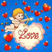 Valentine's Day card with cupid and hearts — Stock Vector