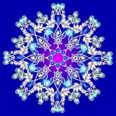 Snowflake made of precious stones on a blue background — Stock Vector