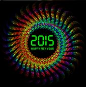 2015 Happy New Year background with colorful lights — Stock Vector