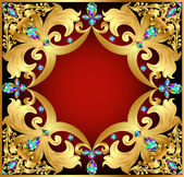 background with red gems and gold ornaments — Stockvektor
