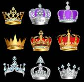 set of crowns with precious stones on a black background — Stock Vector