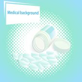 Medical  background with pills and a jar with a lid — Διανυσματικό Αρχείο
