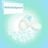 Medical  background with pills and a jar with a lid — Stock Vector