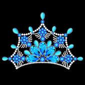 Crown tiara women with glittering precious stones — Stock Vector