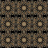 Seamless background with vintage gold ornament on black — Stock Vector