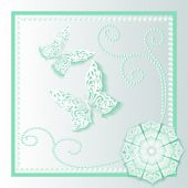 Background card with flower lace and delicate butterflies — Stock Vector