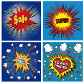 Icons in pop art style on the theme of sale price — Stock Vector