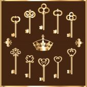 Set of vintage gold keys — Stock Vector