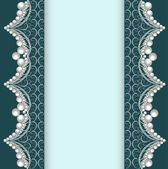 Background with lace ornamented with pearls — Stock Vector