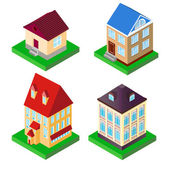 Set of houses in perspective on supports — Stock Vector