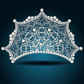 Crown tiara with pearl white female — Vector de stock