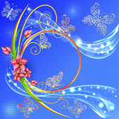 Blue background frame with the circle of flowers and butterflies with gems — Stockvektor