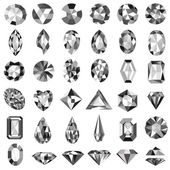 Set of precious stones of different cuts and shapes — Stock Vector