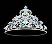 Crown tiara kvinnor med glittrande ädelstenar — Stockvektor