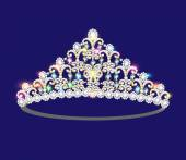 Illustration crown tiara women with glittering precious stones — Stock Vector