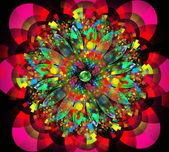 Tło fraktal ilustracja jasny kwiat z kiści — Zdjęcie stockowe