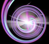 Illustration fractal spiral and glowing star at the end of — Stock Photo