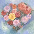 Drawing of heart-shaped roses by pastel  — Stock Photo #60347407