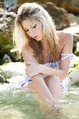 Beautiful sensual girl in water portrait — Stock Photo