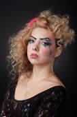 Close-up portrait of creative make-up — 图库照片