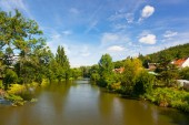 Housing estate on  river — Stock fotografie