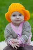 Little girl in an orange beret — Stock Photo