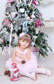 Chica en vestido rosa — Foto de Stock