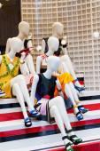 Dummies in show-window of shop — Stock Photo