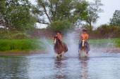 Two cheerful cowboys on horses — Stock Photo