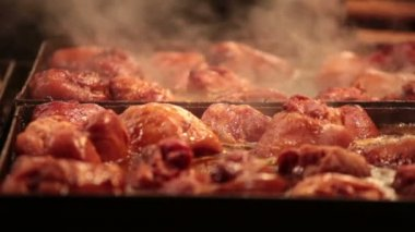 Appetizing slices of meat are fried — Stock Video