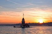 Maiden wieża na zachód słońca, Istanbul — Zdjęcie stockowe