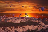 Multi-colored balloons in the sky — Stock Photo