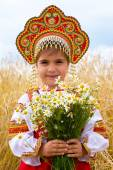 Girl in the Russian national sundress — Stock Photo
