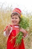 Little girl in the Russian national sundress — Stock Photo